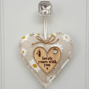 Linen Anniversary Heart With Oak Wood Heart Message - view all new