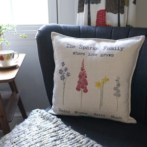Personalised Watercolour Flowers Family Cushion - new in home