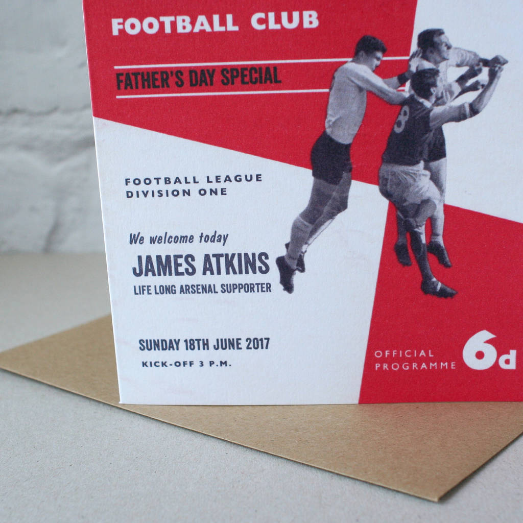 Personalised Football Programme Father S Day Card By The Design