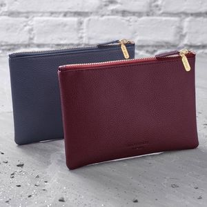 Personalised Leather Clutch Bag Or Cosmetic Purse