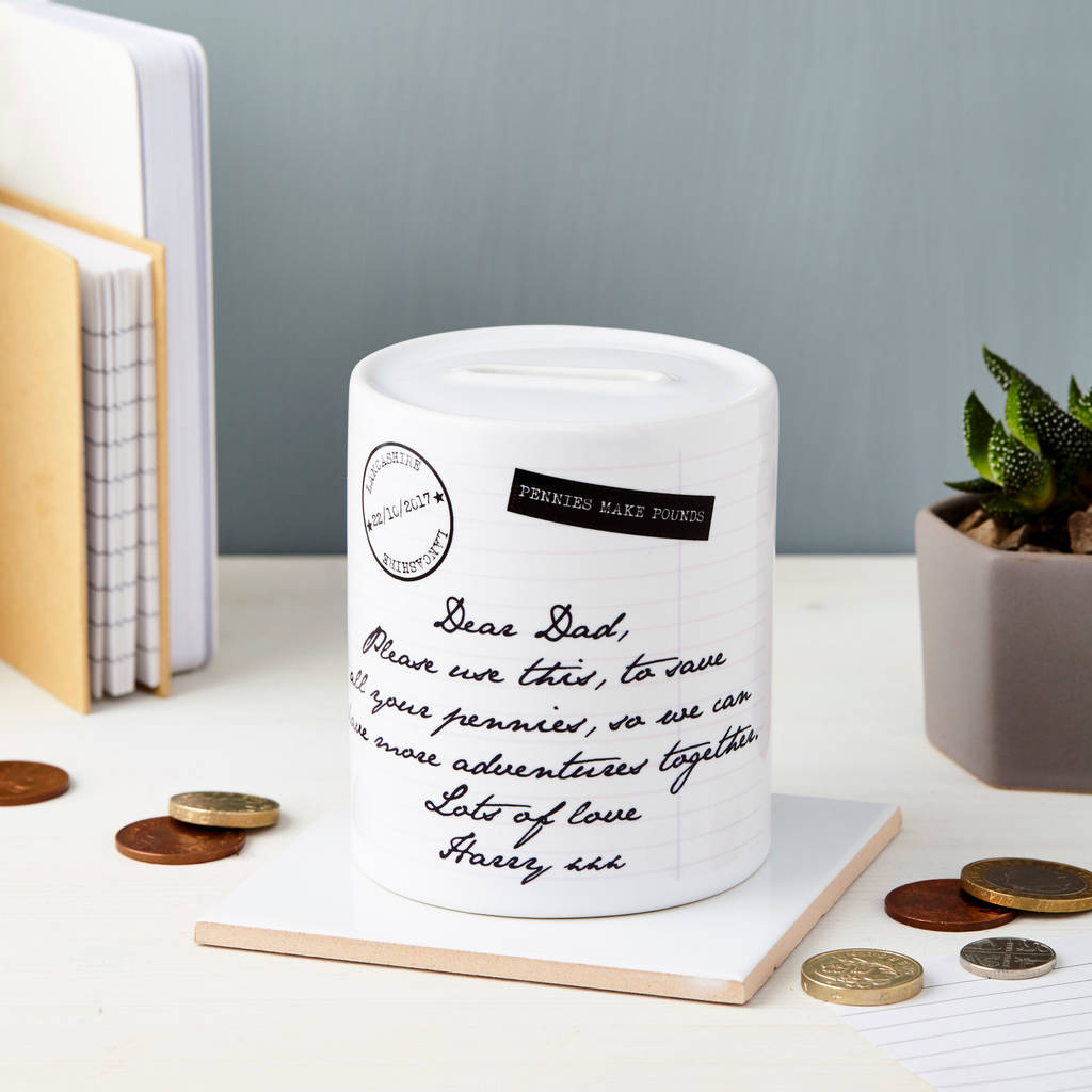 wedding thank you note for gift of money%0A Personalised Message Ceramic Money Box