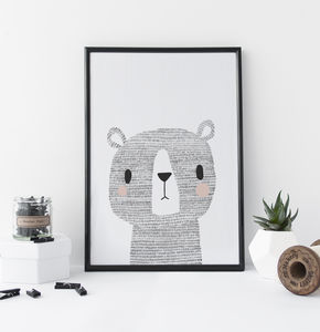 Nursery Print Woodland Bear