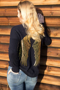 Navy Cashmere Crew Neck With Gold Sequin Wings