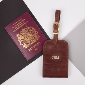 Personalised Leather Luggage Tag. 'The Ledro' - travelling
