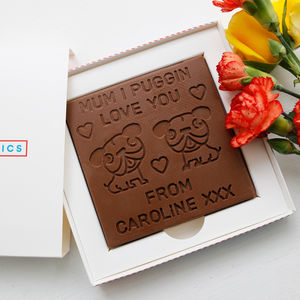 Personalised 'Mum I Puggin Love You' Chocolate Card - novelty chocolates