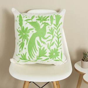 Hand Embroidered Green Mexican Cushion