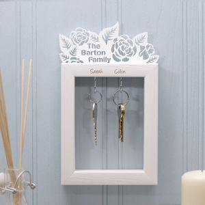 Personalised Small Rose Garden Key Holder - kitchen