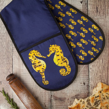 Pair Of Seahorses Double Oven Glove