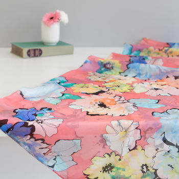 Large 'Watercolour Florals' Pure Silk Scarf