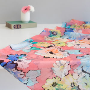 Large 'Watercolour Florals' Pure Silk Scarf - scarves