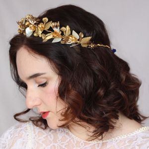 Gold Floral May Day Crown - bridal hairpieces