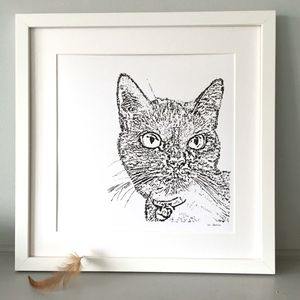 Contemporary Typewriter Drawn Cat Portrait - brand new partners