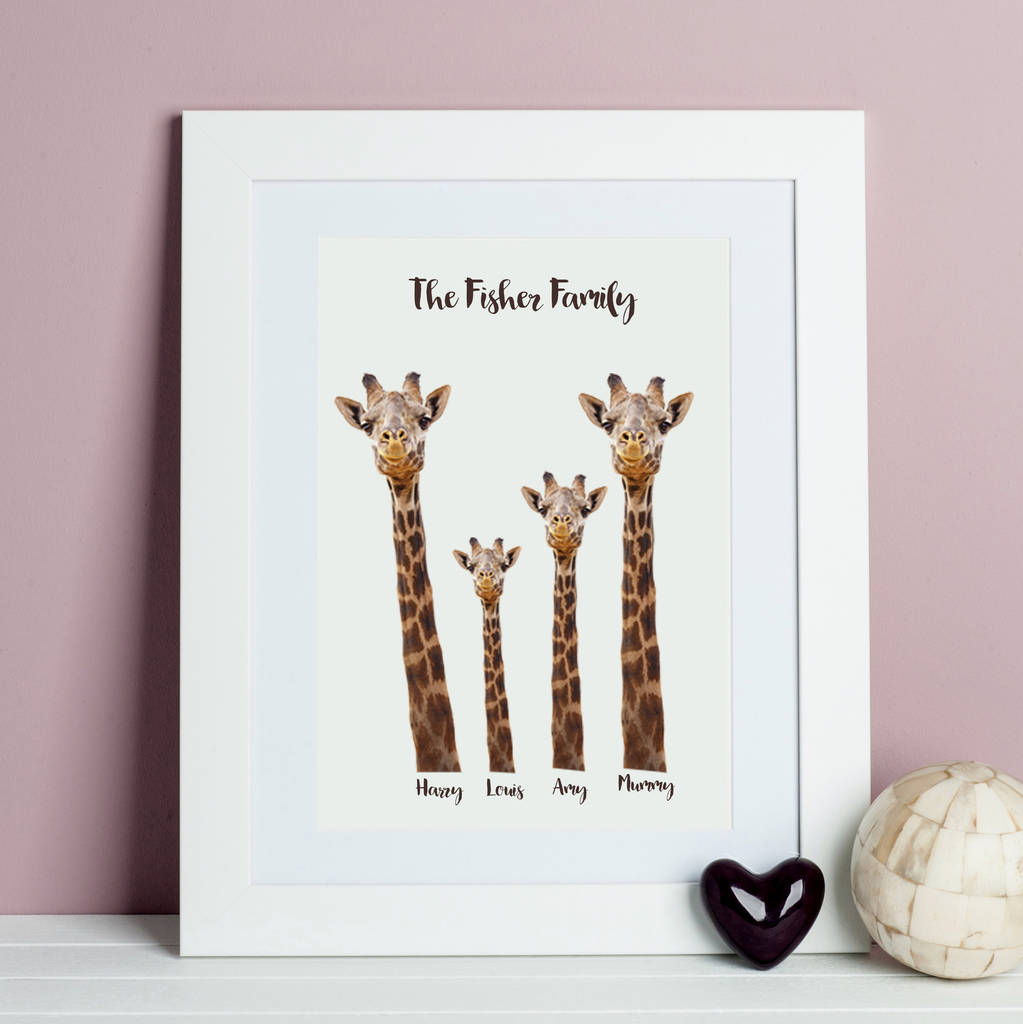Personalised Giraffe Family Print