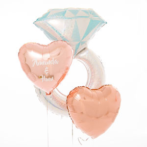 Inflated Personalised Engagement Ring Foil Balloons
