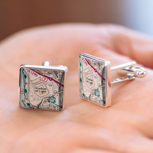 Favourite Place Football Stadium Map Cufflinks For Dad - new in fashion