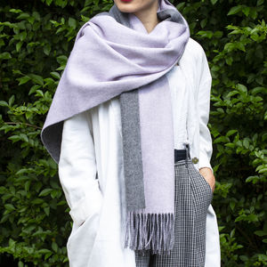 Personalised Reversible Two Side Colours Wool Shawl