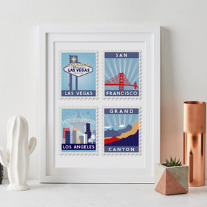 Favourite Destinations Stamp Art Print - gifts for him sale