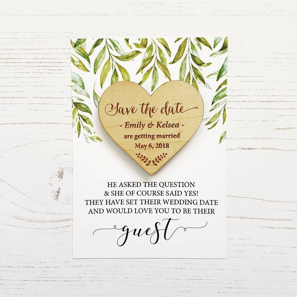 Laurel Wooden Magnet Save The Date