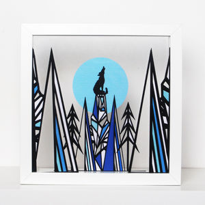 Geometric Wolf Papercut Art - children's pictures & prints