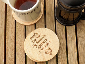 Personalised Superhero Dad Wooden Coaster - dining room