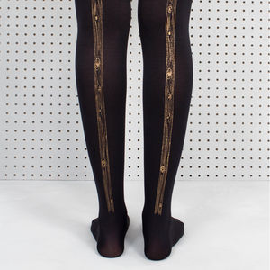 Black Woodgrain Printed Tights - socks & tights