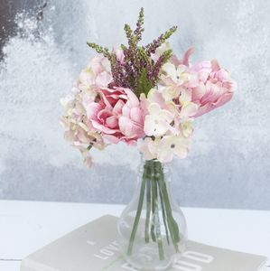Soft Pink Artificial Bouquet In Light Bulb Vase