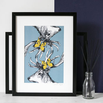 Illustrated 'Mr Stag's Reflection' Scottish Art Print