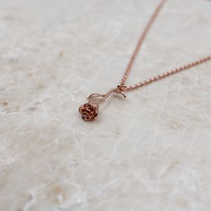 Infinity Rose Stem Pendant Necklace