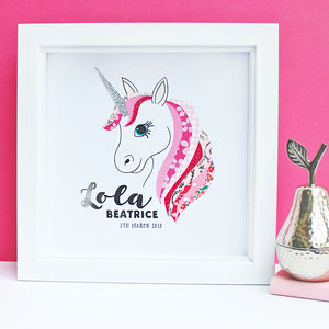 Personalised Baby Girl Unicorn Framed Art - mixed media & collage