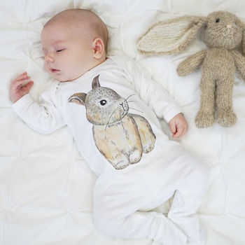 Baby Bunny Watercolour Baby Sleepsuit