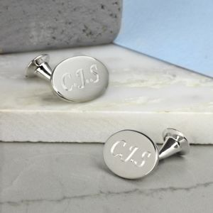 Solid Silver Oval Cufflinks - men's jewellery