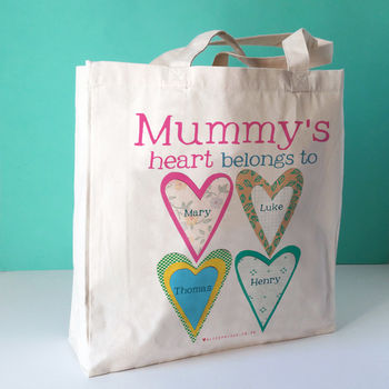 Personalised Mummy's Heart Canvas Bag