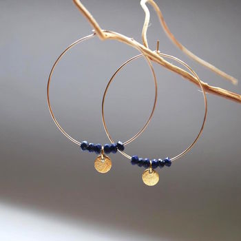 Gold Gemstone Disc Hoop Earrings