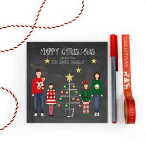 Personalised Family Christmas Cards Pack 'Chalk Tree' - cards & wrap