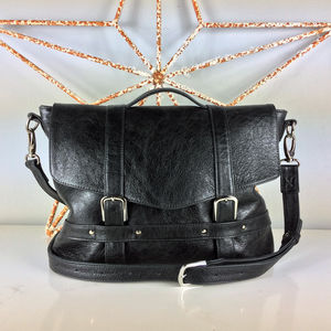 Handcrafted Black Leather Midi Satchel