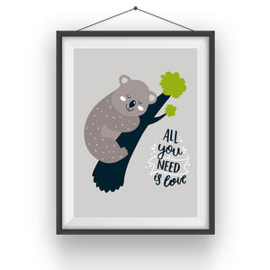 Cartoon Koala Bear Animal Print 'All You Need Is Love'