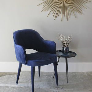 Cobalt Blue Velvet Cocktail Chair - dining room