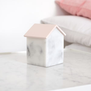 Marble Effect House Trinket Jewellery Box, Blush Pink