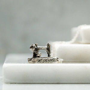 Sterling Silver Sewing Machine Charm Necklace
