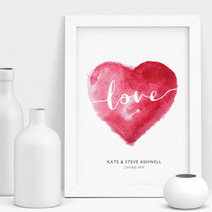 Watercolour Love Personalised Wedding Gift - typography