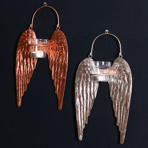 Angel Wings Handmade Irredescent Hanging Candle Holders - table decoration