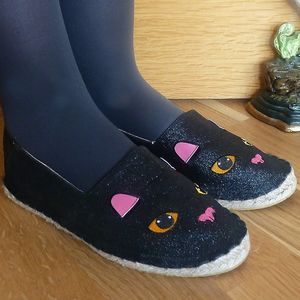 Black Cat Glitter Pumps - shoes