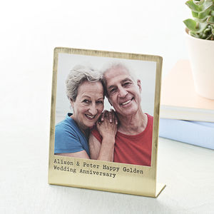 Personalised Solid Brass Polaroid Photo Print - 50th anniversary: gold
