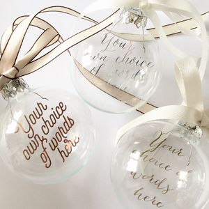 Add Your Own Words Personalised Glass Bauble - tree decorations