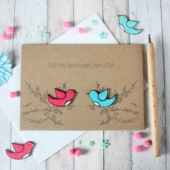 'Happily Ever After' Love Birds Engagement Card