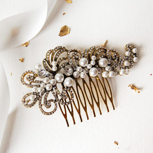 Gold Pearl Filigree Wedding Hair Comb - bridal hairpieces