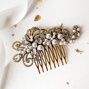 Gold Pearl Filigree Wedding Hair Comb