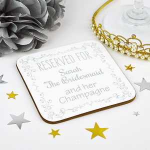 Personalised Bridesmaid Wedding Coaster - placemats & coasters