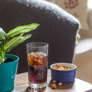 Personalised Daddy Dad Etched Rum And Coke Glass - tableware