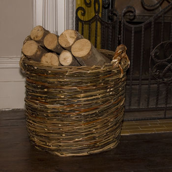 Unpeeled Willow Log Basket W65/L